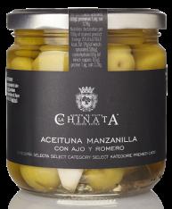 Manzanilla olijven met knoflook en rozemarijn van La Chinata