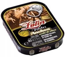 Ansjovis filets in olijfolie van de gouden reeks van Lolin