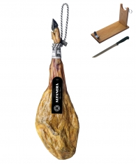 Iberische ham 100% van eikelvarkens (Bellota) van Altadehesa + hamklem + hammes