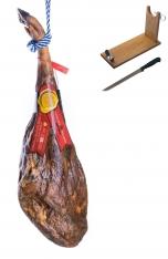Iberische ham van eikel-varkens van de eeuw van Sánchez Bermejo - heel + hamklem + mes