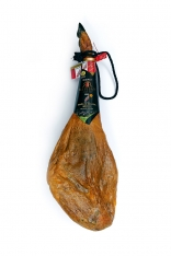 Iberische ham van eikel-varkens (Bellota) met de officiële oorsprong Guijuelo van Revisan Ibéricos