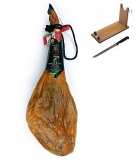 Iberische ham van eikel-varkens (Bellota) met de officiële oorsprong Guijuelo herkomstbenaming van Revisan Ibéricos + hamklem + hammes