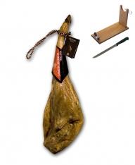 Iberische ham van eikel-varkens (Bellota) met certificaat van Revisan Ibéricos + hamklem + hammes