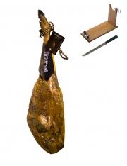 Iberische superieure kwaliteit ham van eikel-varkens (Bellota) van Don Agustín + hamklem + hammes