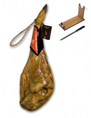Iberische ham van met graangevoerde varkens met certificaat van Revisan Ibéricos + hamklem + hammes
