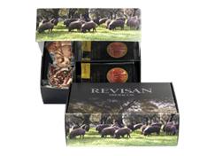 Iberische ham van grasgevoerde varkens van Revisan Ibéricos gesneden - premium doos