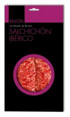 Iberische worst van eikel-varkens (Bellota) van Revisan Ibéricos gesneden