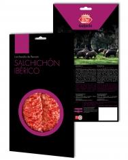 Iberische worst van grasgevoerde varkens van Revisan Ibéricos gesneden