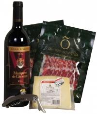 Kerstpakket met Rode wijn en Ham